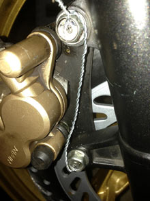 Front Brake Nuts Safety Wired as per Rules