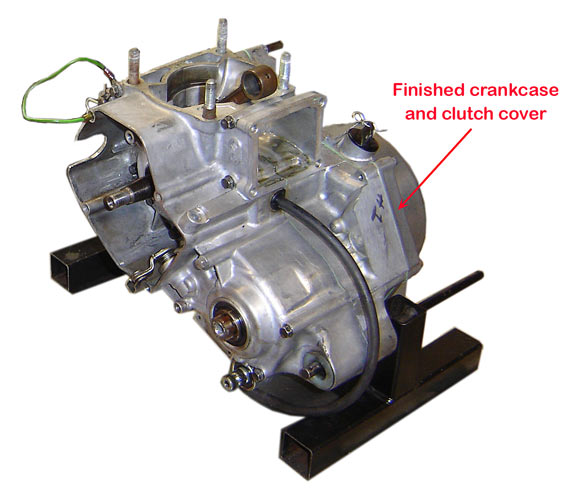 Picture of modified Honda CR85 engine crankcases
